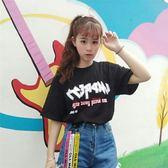 夏裝韓國原宿風寬鬆bf字母印花織帶短袖t恤女韓版學生潮9322#     東川崎町