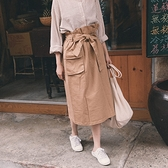 Queen Shop【03070116】荷葉綁帶口袋開衩設計長裙 三色售*現+預*