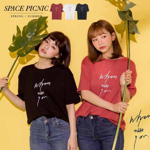 短袖 上衣 Space Picnic|when i miss u 字母短袖T恤(現貨)【C18031088】