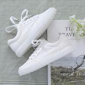 韓版帆布鞋 女學生百搭系帶休閒板鞋【多多鞋包店】z2215