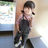 女童牛仔背帶褲修身女孩吊帶褲