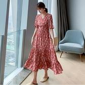 洋裝雪紡v領裙子甜美S-XL新款碎花連身裙復古長袖收腰顯瘦氣質女打底裙子H325-9091.胖胖唯依