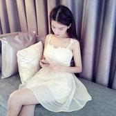 夏季女裝韓版修身收腰歐根紗白吊帶裙短裙甜美連身裙無袖性感裙子