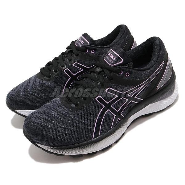 Asics 慢跑鞋 Gel-Nimbus 22 黑 紫 女鞋 路跑 高緩衝 亞瑟膠 運動鞋 【ACS】 1012A587004