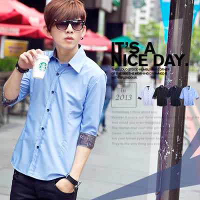 襯衫‧柒零年代 Hey!Man【N8021J】韓版個性穿搭變形蟲反折袖素面七分袖襯衫(Gs6055)