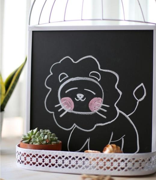 【白色大號鳥籠黑板】歐式複古鐵藝鳥籠黑板壁掛咖啡館留言板