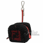 茱麗葉精品【全新現貨】FENDI 7AR743 毛球骰子造型鑰匙零錢包.黑