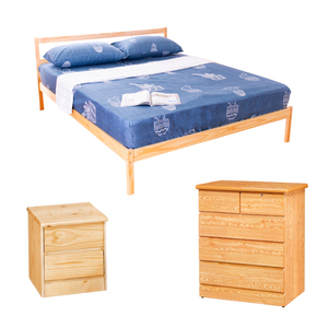 【YFS】頂級松木雙人床架收納三件組(床架+床頭櫃+斗櫃)