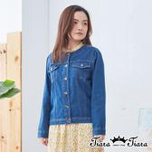 【Tiara Tiara】百貨同步ss  簡約自然風排釦牛仔外套(深藍/淺藍)