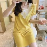 睡裙女2020夏季棉質短袖花邊甜美可愛宮廷公主風很仙的睡衣網紅款夏天 OO10986【雅居屋】