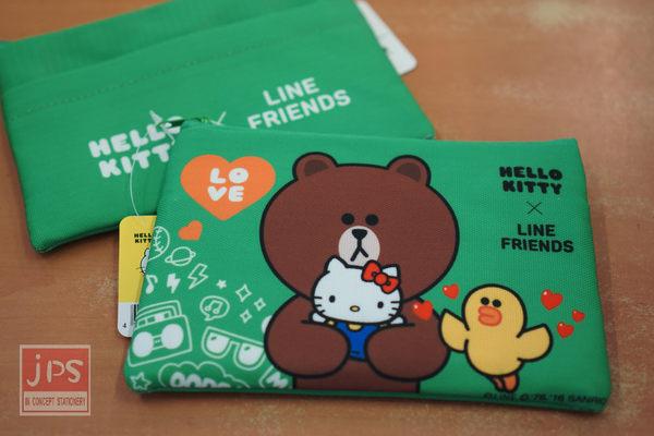 Hello Kitty × LINE 四方筆袋 (綠熊大)