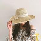 韓版蕾絲蝴蝶結手工鉤針草帽可折疊大沿帽子...