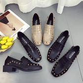 雙11鉅惠 歐洲站單鞋女2018春季新款鉚釘方頭粗跟中跟英倫風時尚百搭小皮鞋 芥末原創