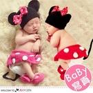 嬰兒攝影寫真米妮帽+包屁褲+襪套 4件/組 套裝