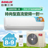 含基本安裝【台灣三洋SANLUX】8-9坪變頻冷暖一對一分離式時尚型冷氣(SAC-V50HF/SAE-V50HF)