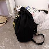 背包 新款韓版抽繩雙肩包簡約束口袋學院男女輕便運動帆布背包潮帆布包  芭蕾朵朵