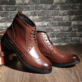 男靴子 馬丁靴 夏季男韓版潮流男英倫風復古工裝靴潮男鞋男短靴《印象精品》q1042