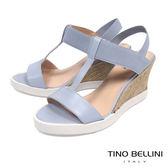 Tino Bellini巴西進口清新夏日工字楔形涼鞋_ 藍 C73403 歐洲進口款