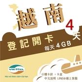 《Viettel越南軍隊》每日4GB 4天高速流量越南原廠卡/3-30天任選/越南網卡