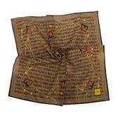 FENDI雙F鍊帶裝飾文字圖紋純棉帕巾(咖啡色)989006-18