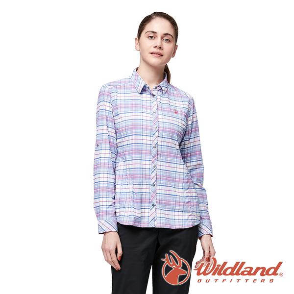 【wildland 荒野】女 彈性抗UV格子長袖襯衫『藍紫』0A91203 戶外 休閒 運動 吸濕 排汗 快乾 舒適