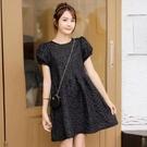 洋裝圓領泡泡袖連身裙收腰氣質連身裙寬松顯瘦仙氣泡泡袖1F-A130-B 韓依紡