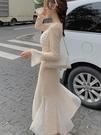 年會禮服 法式復古配大衣長裙仙女氣質年會禮服魚尾連衣裙子女【快速出貨八折搶購】