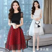 中大尺碼 洋裝夏季新款女裝韓版網紗洋裝中長款氣質修身波點大擺型裙 zm2926『男人範』
