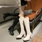 膝上靴 白色女靴顯瘦高跟長筒靴秋季新款后拉鏈高筒靴不過膝粗跟長靴 風馳