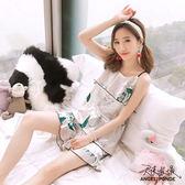 天使波堤【LD0435】夏季冰絲吊帶背心短褲睡衣可拆胸墊蕾絲睡衣連身大尺碼緞面居家(二件式睡衣)
