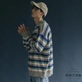 日系學院風撞色條紋長袖毛衣 寬松BF風針織衫【時尚大衣櫥】
