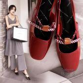 低跟涼鞋 小ck女鞋包頭涼鞋女夏平底復古港風港味瑪麗珍單鞋子【蘇迪蔓】