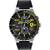 Scuderia Ferrari 法拉利 evo 三眼計時手錶-黑x黃時標/46mm FA0830360