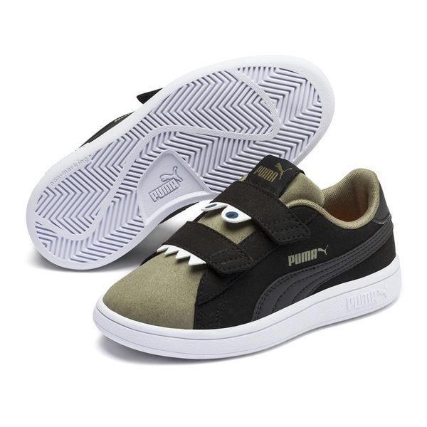 Puma Smash v2 童鞋 黑綠 運動童鞋 運動鞋 麂皮 健身 兒童 運動 鞋子 魔術帶 36968004