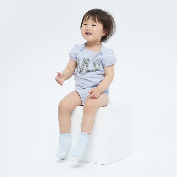 Gap嬰兒 布萊納系列 Logo甜美印花短袖包屁衣 770816-淺藍色