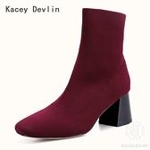 時尚舒適飛織粗跟短靴 女士襪靴 女靴子【Kacey Devlin 】