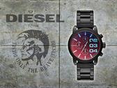 【時間道】 DIESEL 前衛風格三眼計時腕錶 / 黑面炫彩玻璃黑鋼 (DZ5466)免運費