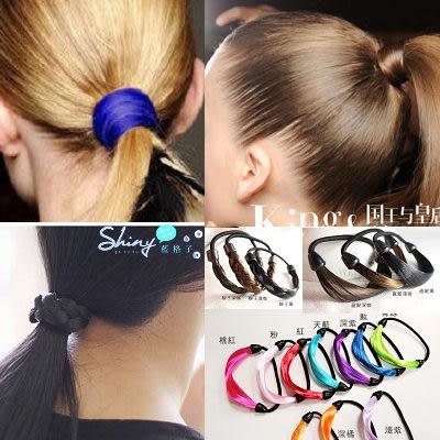 【50A92】shiny藍格子-螢光色系辮子多款假髮皮筋髮圈
