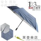雨傘 萊登傘 超大傘面 可遮三人 抗UV 不回彈 無段自動傘 銀膠 Leotern 直紋鐵藍