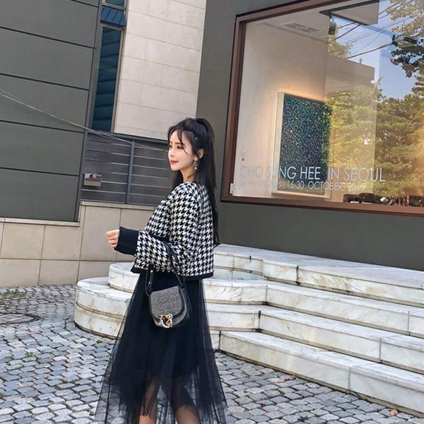 Qmigirl 韓版氣質香風外套網紗吊帶裙套裝【T2154】