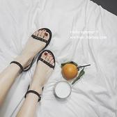 平底涼鞋 性感夏學生一字扣帶平底平跟露趾鉚釘涼鞋羅馬鞋
