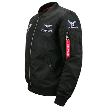 Free Shop 送T恤 美國空軍一號AIR FORCE刺繡貼章MA-1飛行外套 有大尺碼 軍綠空軍藍黑色【QTJYZ8902】