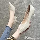 韓版百搭高跟鞋女米色低跟3cm小清新工作職業單鞋貓跟細學生禮儀 范思蓮恩
