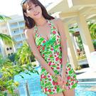 裙式連身交叉帶露背可愛草莓圖案泳裝/泳衣 2色 (8833款 M/L/XL)