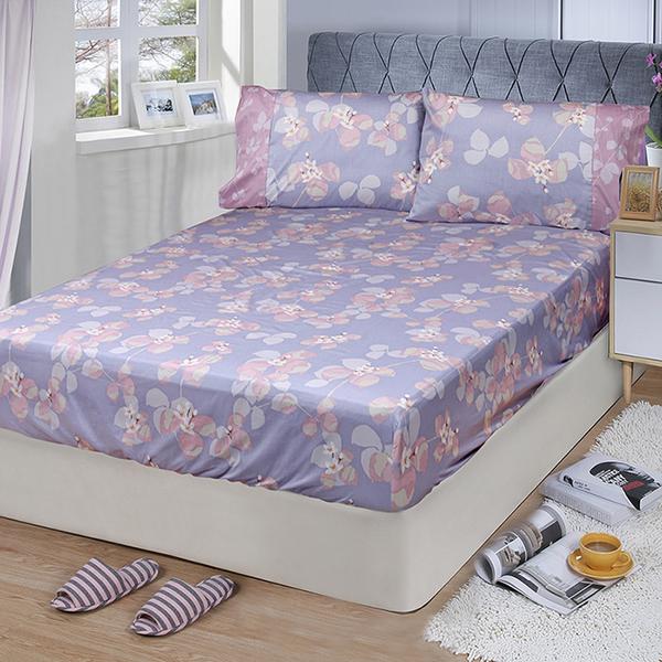 【FITNESS】精梳棉單人床包+枕套二件組-佛洛拉(紫)_TRP多利寶
