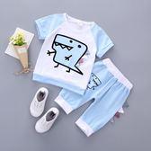兒童短袖套裝童裝男童女童夏裝寶寶T恤五分褲童套裝1-3歲  喜迎中秋 優惠兩天