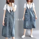 吊帶裙 胖MM2021夏裝新款牛仔顯瘦背帶裙休閒寬鬆大碼中長款文藝洋裝女 快速出貨