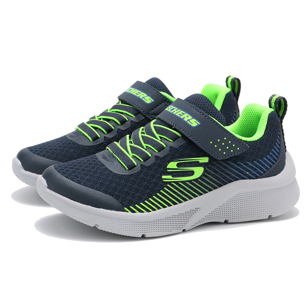 SKECHERS GO RUN 600 藍 螢光綠 黏帶 休閒鞋 中大童 (布魯克林) 97535LNVLM