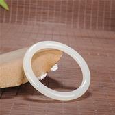 新疆和田玉羊脂級白玉手鐲玉鐲子復古圓條手鐲少女細條手鐲 霓裳細軟
