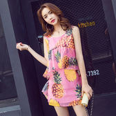 VK旗艦店 韓國風圓領菠蘿印花背心裙甜美荷葉邊無袖洋裝